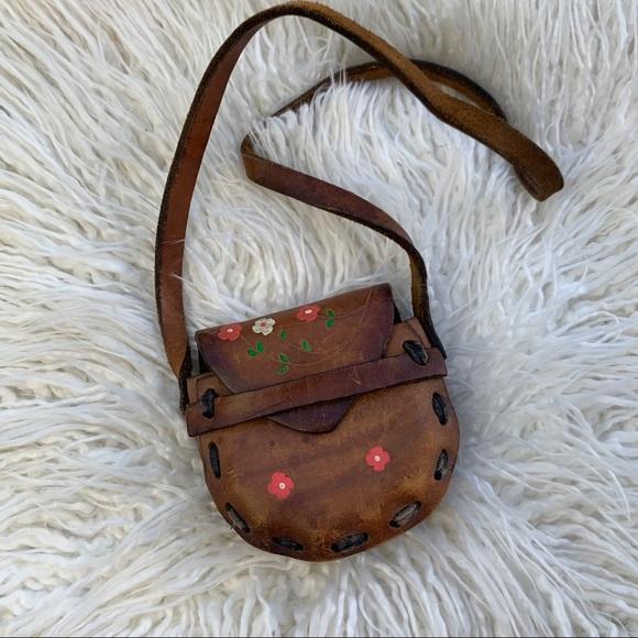 Vintage Handbags - ✨ Super Tiny Genuine Leather Handmade Coin Clutch✨